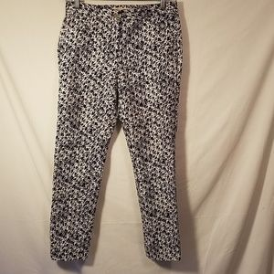 MICHAEL KORS BLUE BATIK CROPPED SKINNY PANTS SZ 2